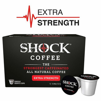 Shock Coffee Extra Strength K-Cup. The Strongest Caffeinated All Natural K-Cup, Up to 75% more Caffeine than Regular Coffee, 12 count