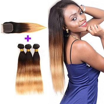 Brazilian Straight Virgin Hair Weaves 3 Bundles with Closure 4x4 Unprocessed Brazilian Straight Weft Human Hair Extensions with Lace Free Part Closure T1b/4/27(18 20 22with16, T1b/4/27)