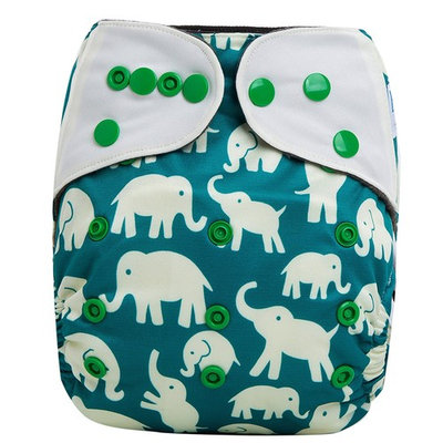 HappyEndings Contoured Day or Night AI2 All In Two Cloth Diaper/Snap-in Insert Elephants