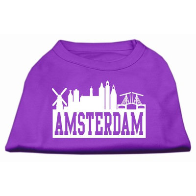 Mirage Pet Products 5167 XSPR Amsterdam Skyline Screen Print Shirt Purple XS 8