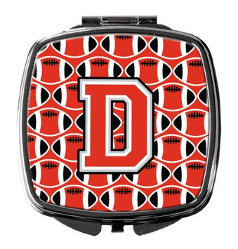 Letter D Football Scarlet and Grey Compact Mirror CJ1067-DSCM