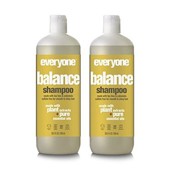 EO Everyone Sulfate Free Balance Shampoo (Pack of 2) with Coconut Fruit Extract, Orange Peel Oil, Organic Aloe Barbadensis Leaf and Matricaria Flower Extract, 20 fl. oz.