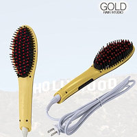 Medex Gold Hair Studios Magic Hair Straightening Brush with LCD Display and Variable Temperature. Anti-Scald Ceramic Plates, No Frizz Silky Smooth Hair!