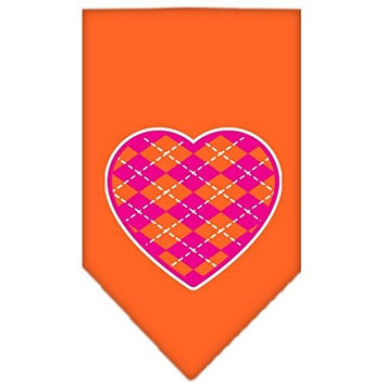 Mirage Pet Products 66-113 LGOR Argyle Heart Pink Screen Print Bandana Orange Large