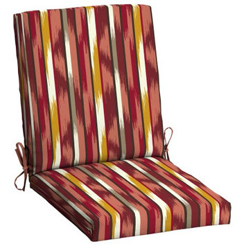 Arden Companies Mainstays Outdoor Patio Dining Chair Cushion, Sante Fe Stripe Red