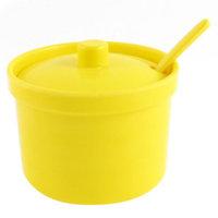 Home Kitchen Plastic Cruet Spice Salt Pepper Condiment Bottle Yellow w Spoon