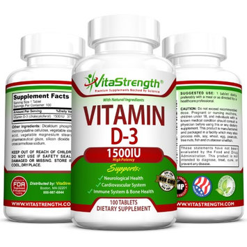 VitaStrength High Potency Vitamin D-3 1,500 IU - Promotes Cardiovascular & Neurological Health - Encourages Immune System & Bone Health - 100 Tablets