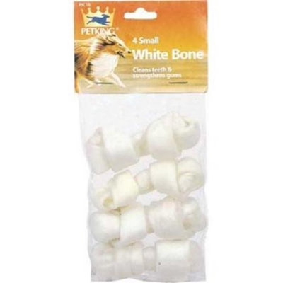 Ddi Rawhide Bones White Small - 4 Pieces(Case of 12)