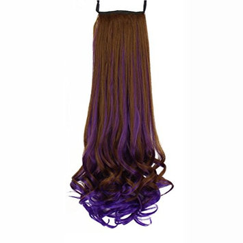 Frcolor Human Hair Ponytail Wrap Around Clip in Ponytail Hair Extensions for Women(Dark Brown Bright Purple)