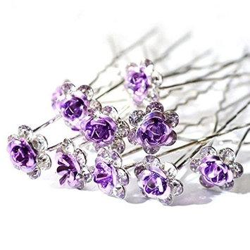 Bridal Wedding Crystal Diamante Hair Pin, 20Pces Rose Flower Hair Pin,Rhinestone Flower Hair Clip, U-Shaped Design Hair Pin, Jewelry hair Accessory