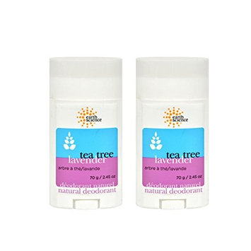 Earth Science Tea Tree and Lavender Deodorant (Pack of 2) With Lavender, Juniper Fruit, Licorice, Coriander, Calendula, Thyme, and Matricaria, No Aluminum, Paraben, Cruelty Free, Vegan, 2.45 oz.