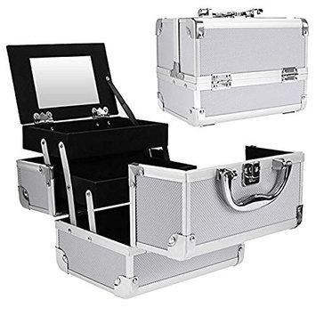 Jingjing1 Portable Makeup Train Case with Lock 2 Trays Mini Cosmetic Cases Organizer