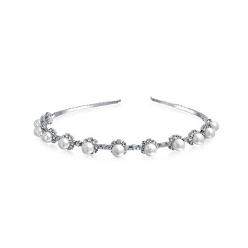 Simulated Pearl Flower Crystal Tiara Headband Silver Plated
