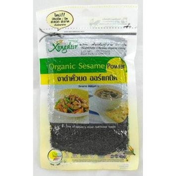 Xongdur Thai Organic Black Sesame Powder 100g - Nutrient & Healthy Food (Vacuum Pack - Resealable Zipper Stay Fresh)