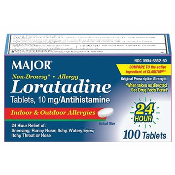 Major Loratadine 10 mg, Non-Drowsy Allergy Relief, 100 Tablets