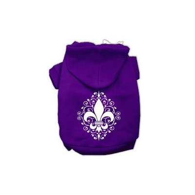 Mirage Pet Products Henna Fleur De Lis Screen Print Pet Hoodies Purple Size Sm (10)