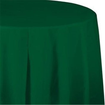 CPC 82PCFG 82 in. Round Disposable Plastic Table Cover, Forest Green