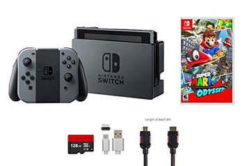 Nintendo & Ushopmall Nintendo Switch Bundle (5 items): 32GB Console Gray Joy-con, 128GB Micro SD Card, Game Disc Super Mario Odyssey, Type C Cable, and HDMI Cable