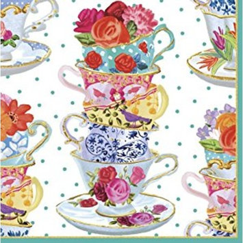 Entertaining with Caspari Luncheon Napkin, Pink Tea Cups, 20-Pack