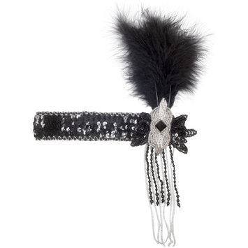 Star Power Sequined with Feather Flapper Headband, Black Silver, One Size