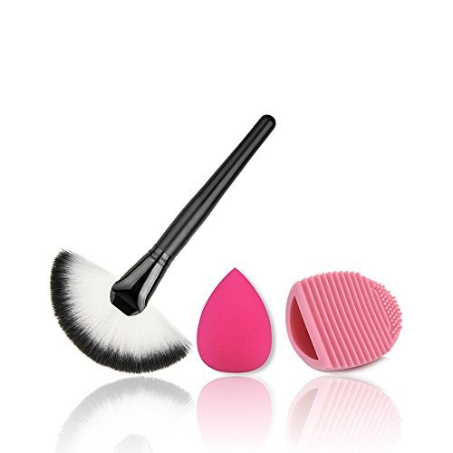 CoKate Comb Set, 1PC Cosmetic Makeup Brush,1PC Brushegg Egg Clean, 1PC Water Droplets Soft Puff for Daily Use (White)
