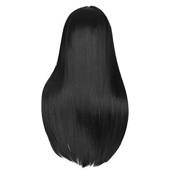 Homyl 28'' Long Black Straight Hair Wig, Natrual Silk Full Hair Wigs Hairpirces Heat Resistant Cosplay Party Wedding Costume Playing
