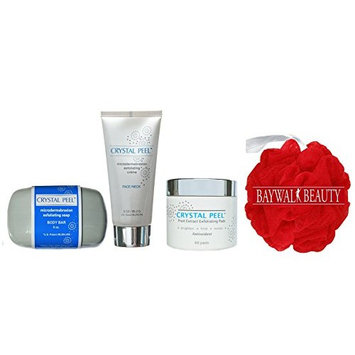 Crystal Peel Microdermabrasion Exfoliating Soap Body Bar 8 Ounce, Exfoliating Creme 3 Ounce, Fruit Extract Exfoliating Pads 60ct With FREE
