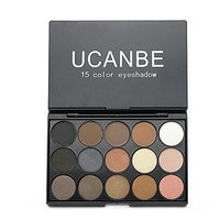 Ucanbe 15 Earth Color Matte Pigment Eyeshadow Palette Cosmetic Makeup Set Nude Eye Shadow Palettes with a Double End Brush (#1)