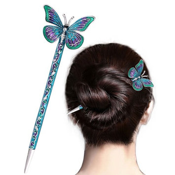 LiveZone Fashion Hair Decor Chinese Traditional Style Women Girls Hair Stick Hairpin Hair Making Accessory with Butterfly ,Blue
