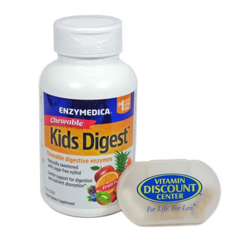 Bundle: 1 Bottle of Kids Digest Chewables By Enzymedica - 60 Chewables and 1 VDC Pill Box