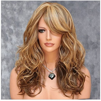 Imcolorful Sexy Big Wave Inclined Bang Wig Curly Brown Hair Mixed Color Highlights Fluffy Air Volume