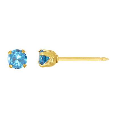 Home Ear Piercing Kit with a 14KT 3MM December Blue Topaz Earring