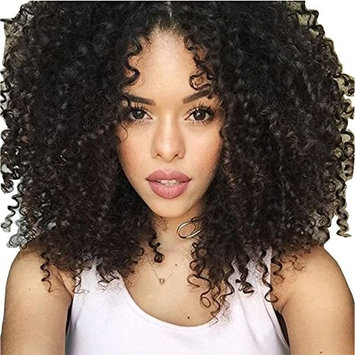 Maycaur Black Afro Kinky Curly Wig with Bangs Heat Resistant Fiber Hair Curly Synthetic Wigs For Women