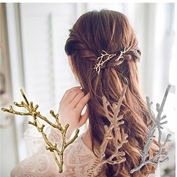 Cuhair(tm) 2pcs unique individuality gift hot metal antlers design for women girl hair clip barrette pin accessories