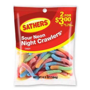 Ferrara Candy Company Sathers Neon Nite Crawlers Gummy Candy, 6.5 Ounce Bag