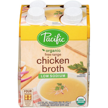 Pacific Organic Low Sodium Free Range Chicken Broth, 8 fl oz, 4 count, (Pack of 6)