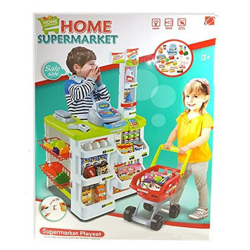 MZ TOYS 66803 Toycity Fun Super Market Pretend Play Toy Market Play Set with Toy Cash Register, Working Scanner, Shopping Cart, Pretend Food and Money