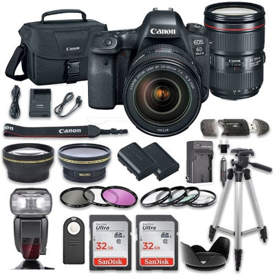 Canon EOS 6D MARK II DSLR Camera Bundle with Canon EF 24-105mm f/4L IS II USM Lens + 2pc SanDisk 32GB Memory Cards + Premium Accessory Bundle Kit (19 Items)