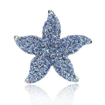 DoubleAccent Hair Jewelry Small Simulated Crystal Starfish Barrette, Aqua by Double Accent Hair Jewelry
