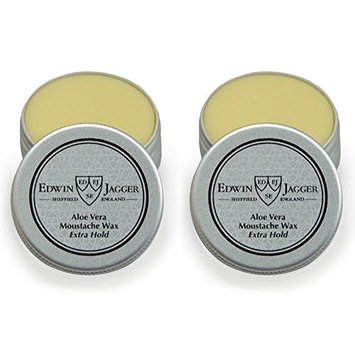 Edwin Jagger Beard and Moustache Care, Waxes, Washes & Accessories (2 Pack, Aloe Vera Moustache Wax, Extra H
