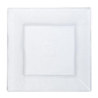 Lillian Plastic Dinnerware, Square Plastic Plate, Clear, 9.5', 10 Ct