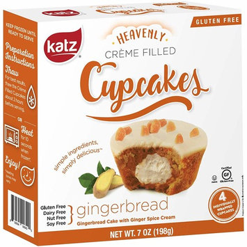 Katz Gluten Free Gingerbread Crème Filled Cupcakes   Dairy, Nut, Soy and Gluten Free   Kosher (1 Pack of 4 Crème Cupcakes, 7 Ounce)