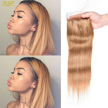 XCCOCO Honey Blonde Straight Lace Closure Free Part (27#) Blonde Brazilian Virgin Human Hair 4x4 lace Closure With Baby Hair Bleanched Knots Pre Plucked(10inch)