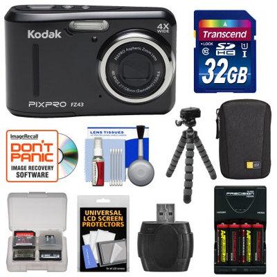 Kodak Ltd Kodak PixPro Friendly Zoom FZ43 Digital Camera (Black) with 32GB Card + Batteries & Charger + Case + Flex Tripod + Kit