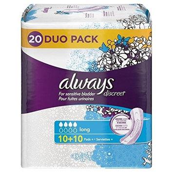 Always Discreet Sensitive Bladder Long Pads Value 20 per pack (PACK OF 2)