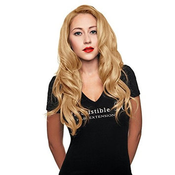 IRRESISTIBLE ME 1 piece Clip in Hair Extensions Honey Blonde (Color #28) - 100% Human Remy (Remi) Hair clip ins – Straight 1 Weft Set Clips - Signature Quad Weft - 22 Inches 80 grams (quad-28-22-80)