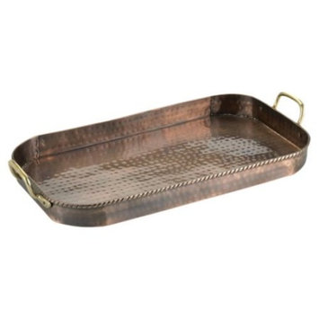 Copper Tray with Brass Handles