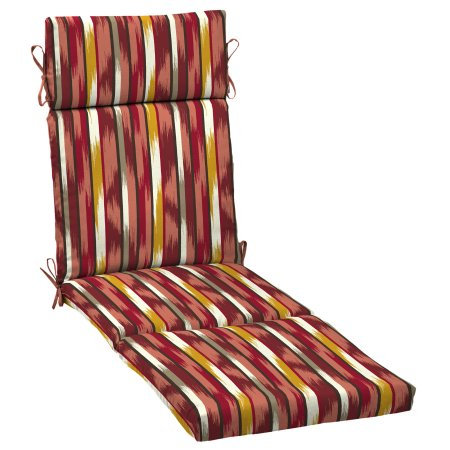 Arden Companies Mainstays Outdoor Patio Chaise Cushion, Sante Fe Stripe Red