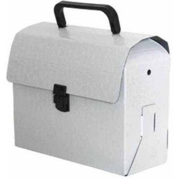 Jam Paper & Envelope White Alligator Lunchbox / Art Case with Handles (6x9x4) - Sold individually