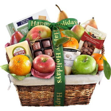Golden State Fruit Happy Holidays Classic Deluxe Fruit Gift Basket, 16 pc